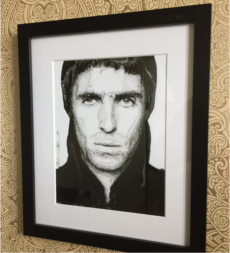 Liam Gallagher Hand drawn Ink Portrait