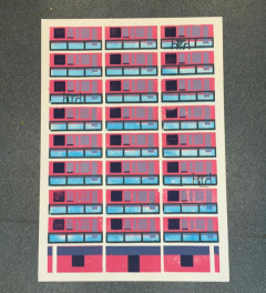 Block of flats lino cut print