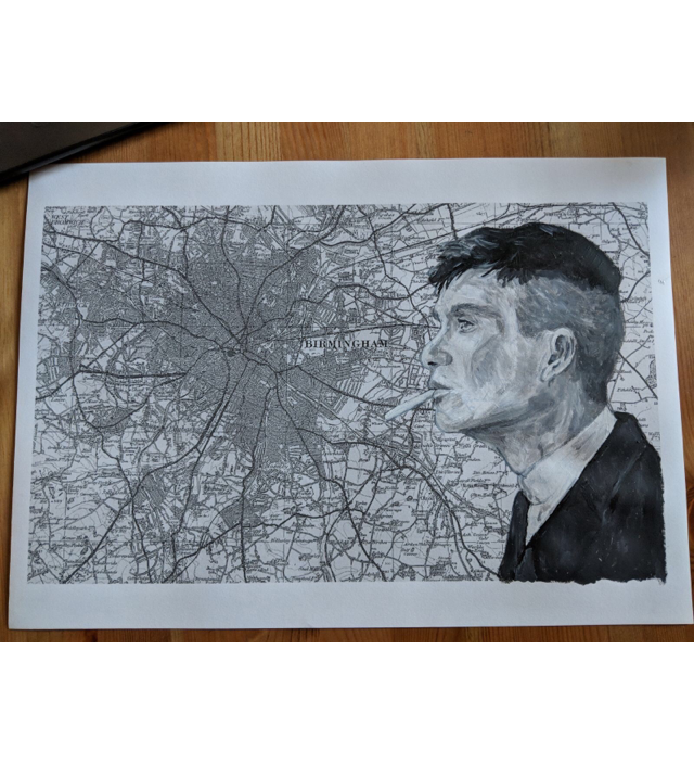 Tommy Shelby - Print over Birmingham Map