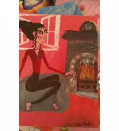 SOLD*Girl with rex cat by roaring fire