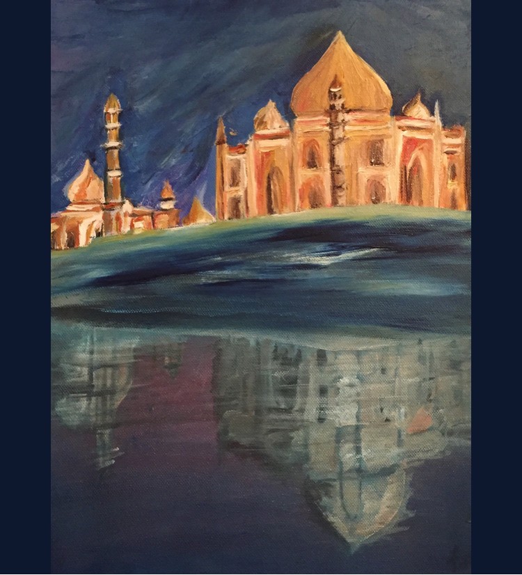 Taj Mahal oil on canvas painting