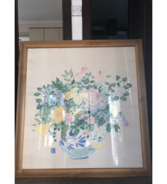 Flowers in a vase silk painting