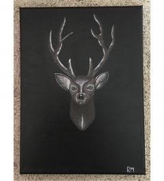Original Acrylic Mounted Stag Head Canvas Painting