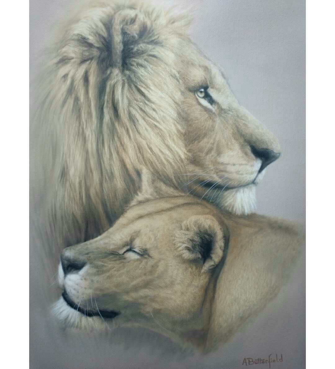 Two Lions original painting