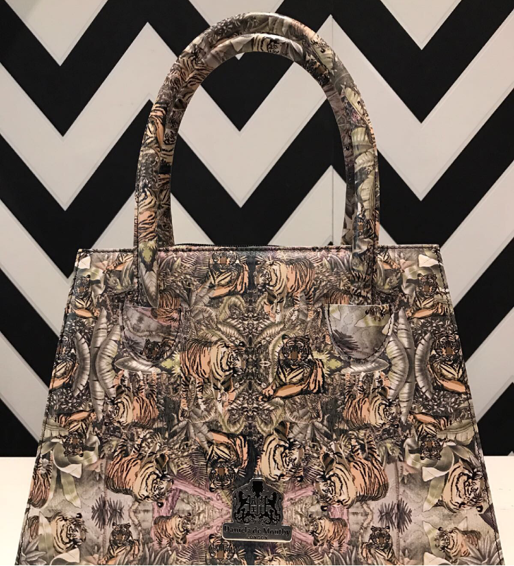 Sumptuous tiger print leather handbag