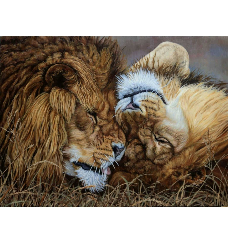 Best Mates (African Lions) original oil painting.