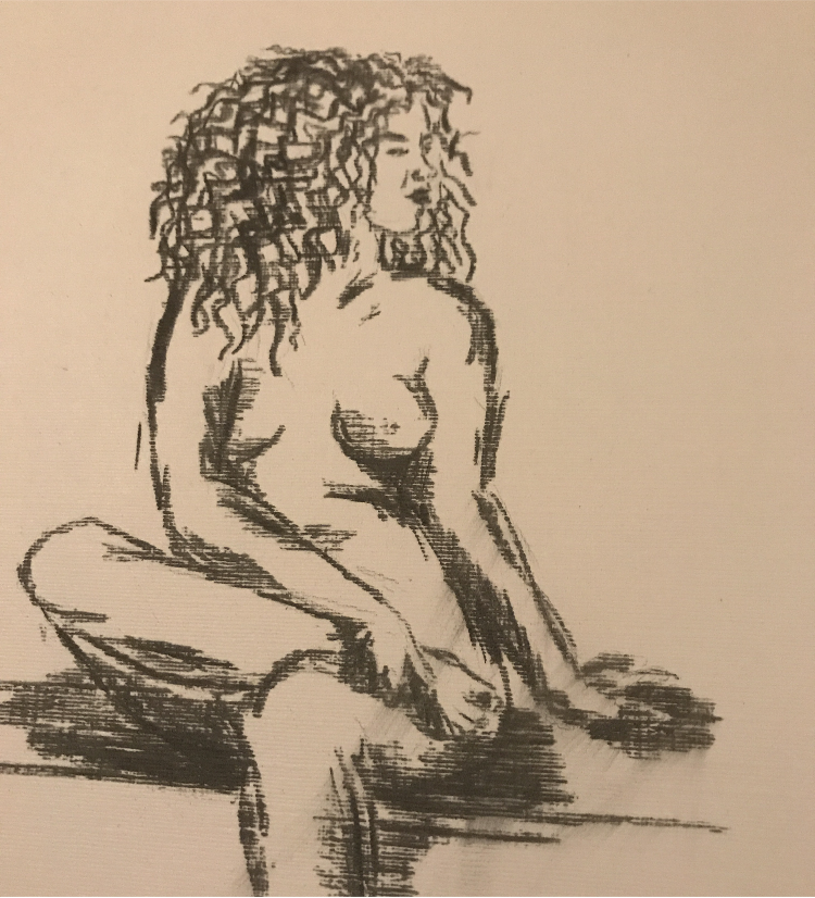 Curly Haired girl in charcoal
