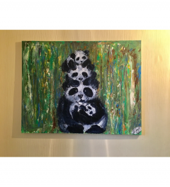 Panda family large painting on canvas