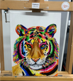 Abstract Tiger 'The Power Within' Acrylic Painting
