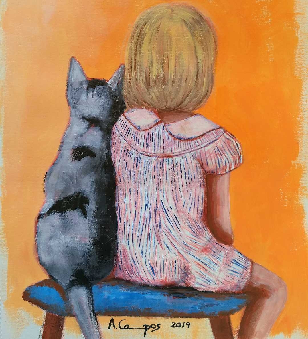The girl and the cat