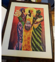 Painting of three african women and a baby NEW