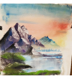 Bob ross esque painting in acrylic on a sheet