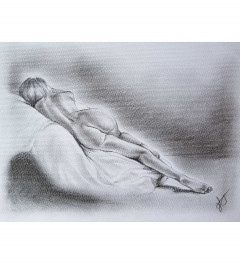 Life drawing of nude women in charcoal
