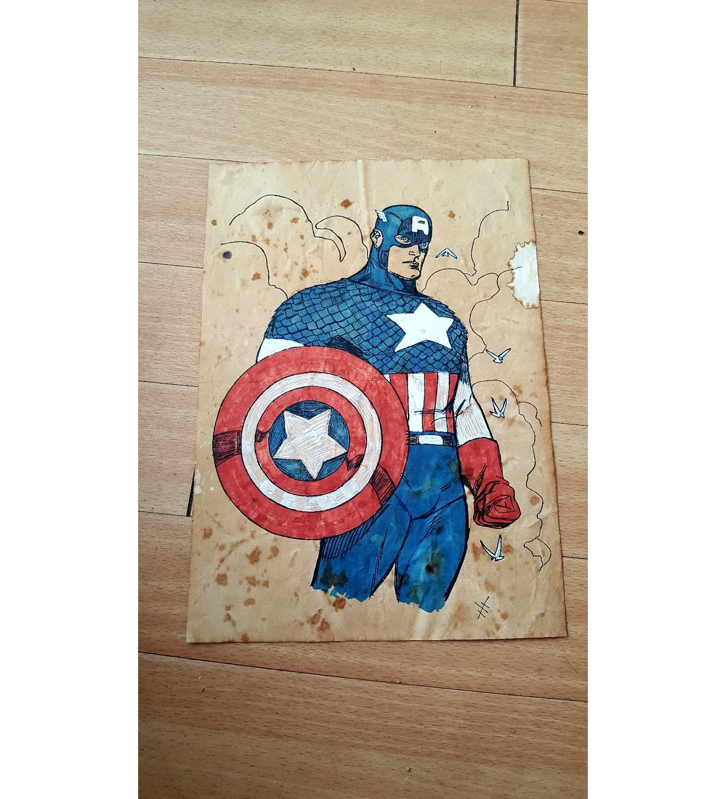 Captain America colour print