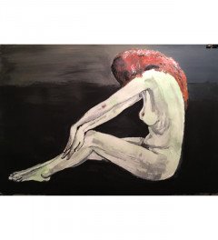 Nude study in acrylic on heavyweight paper