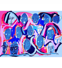 Faces in blue