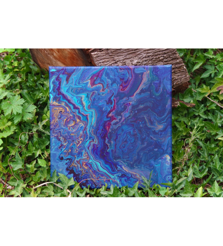36x36cm Blue, Purple and Gold Acrylic Pour Painting