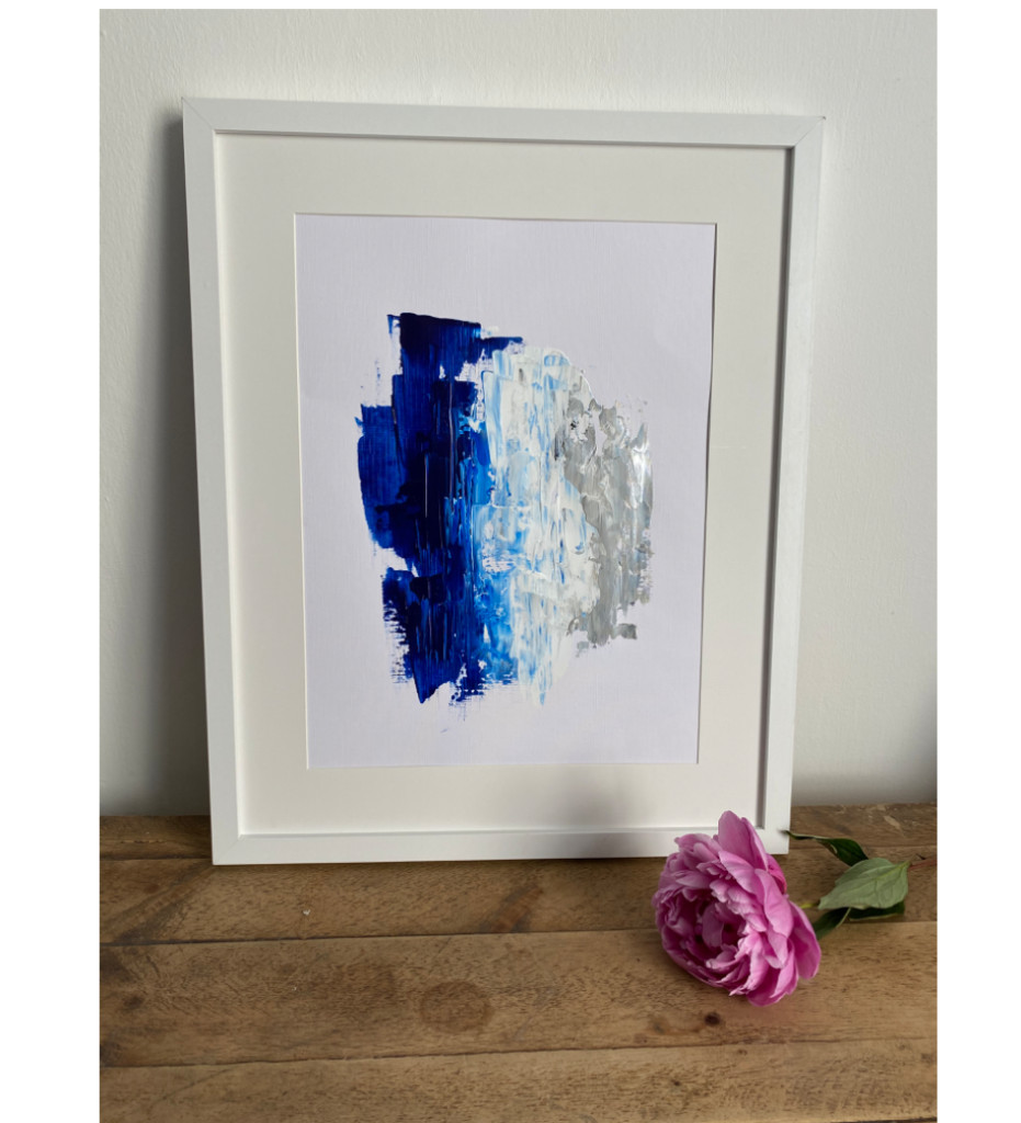 Blue/ Silver Abstract painting