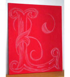 Customised alphabet letter painting - red