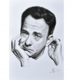 Young Tom Hanks portrait pencil drawing