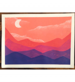 Acrylic - Pink sky and mountains