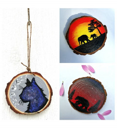 Acrylic handpainted wooden coasters, hangers and magnets