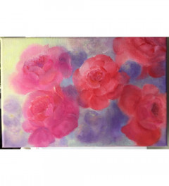 Peonies on canvas original painting. Ready to hang