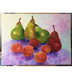 Pears and apricots still life original