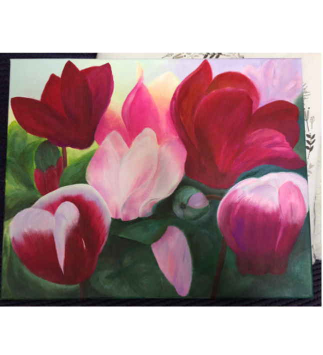 """""""Cyclamen"""" flowers on canvas original painting. Ready to hang"""