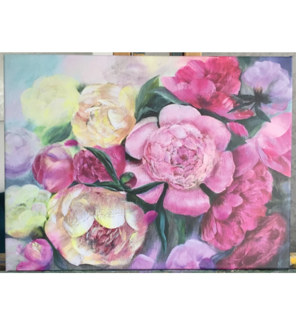 Peonies, Print on stretched canvas. Ready to hang