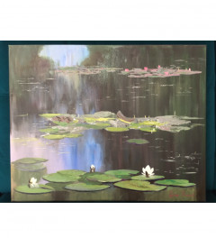 Water lilies pond on canvas original