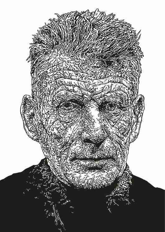 Samuel Beckett original line drawing