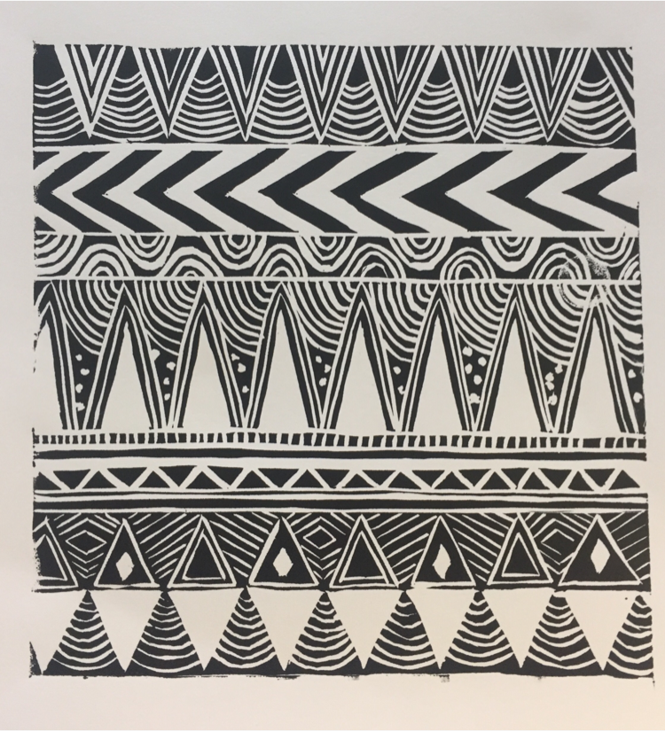 Geometric Tribal Triangle Linocut Handmade Studio Print