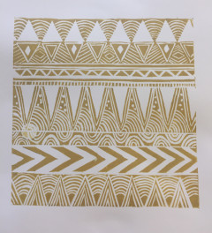 Metallic Geometric Tribal Linocut Print