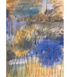 Abstract landscape, blue and gold.