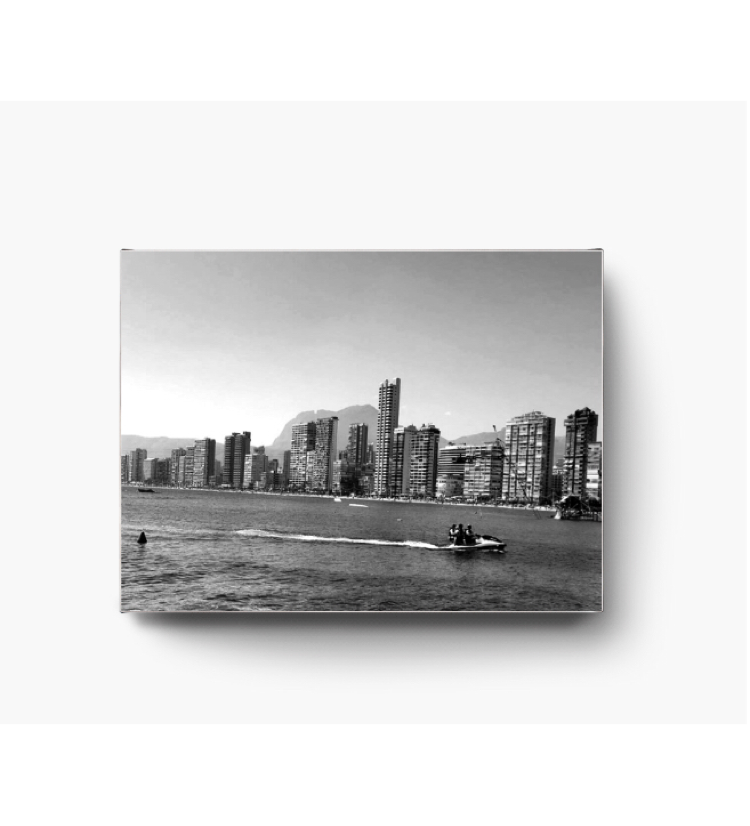 "Benidorm 16x12"" canvas black and white wall art"