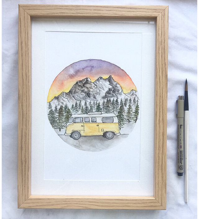 Camper mountain scene -Original A4